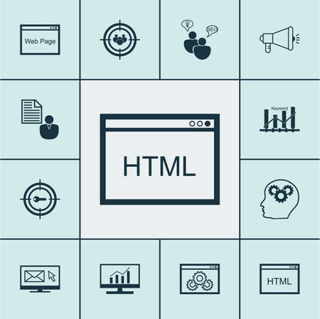 dynamic html: Set Of Advertising Icons On Coding, SEO Brainstorm And Brain Process Topics. Editable Vector Illustration. Includes Audience, Businessman, Plan And More Vector Icons.