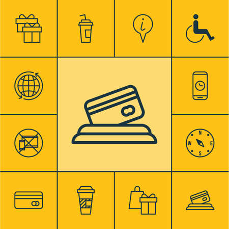 infirm: Set Of Traveling Icons On Plastic Card, Info Pointer And Accessibility Topics. Editable Vector Illustration. Includes Box, Paralyzed, Locate And More Vector Icons.