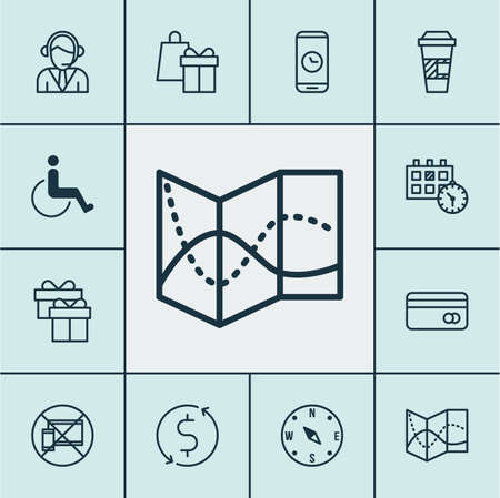 paralyzed: Set Of Travel Icons On Shopping, Road Map And Forbidden Mobile Topics. Editable Vector Illustration. Includes Paralyzed, Locate, Shopping And More Vector Icons.