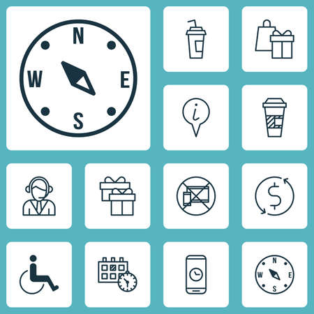 take charge: Set Of Traveling Icons On Accessibility, Call Duration And Shopping Topics. Editable Vector Illustration. Includes Map, Coffee, Cup And More Vector Icons.