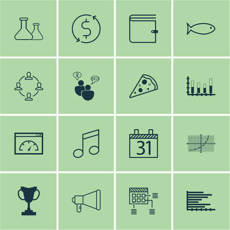 Set Of 16 Universal Editable Icons. Can Be Used For Web, Mobile And App Design. Includes Icons Such As Chemical, Schedule, Bars Chart And More.
