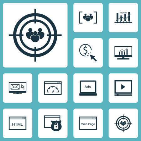 topics: Set Of SEO Icons On Video Player, Newsletter And Coding Topics. Editable Vector Illustration. Includes Optimization, Speed, Display And More Vector Icons.