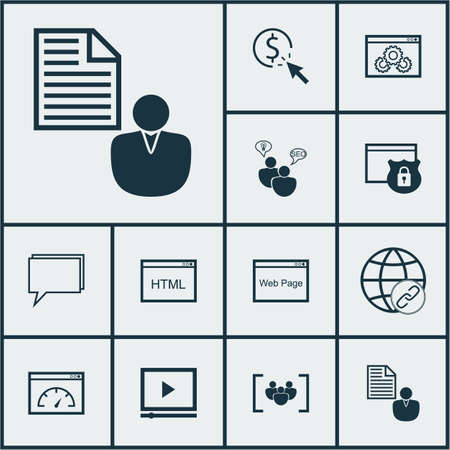 topics: Set Of SEO Icons On Website Performance, Connectivity And Website Topics. Editable Vector Illustration. Includes Speed, Digital, Client And More Vector Icons. Illustration