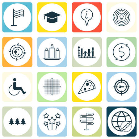 application recycle: Set Of 16 Universal Editable Icons. Can Be Used For Web, Mobile And App Design. Includes Icons Such As Accessibility, Info Pointer, Pin And More.
