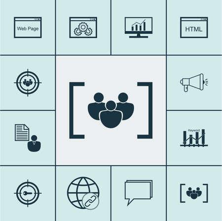 Set Of SEO icônes sur le codage, la Conférence et des sujets de la campagne des médias. Éditable Vector Illustration. Comprend les mots-clés, Link, en ligne et plus vecteur icônes.