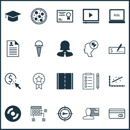 checkbook: Set Of 20 Universal Editable Icons. Can Be Used For Web, Mobile And App Design. Includes Icons Such As Pizza Meal, Human Mind, Present Badge And More. Illustration