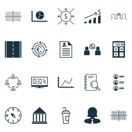 Set Of 20 Universal Editable Icons. Can Be Used For Web, Mobile And App Design. Includes Icons Such As Achievement Graph, Square Diagram, Cosinus Diagram And More.