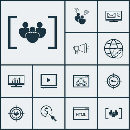 ppc: Set Of Advertising Icons On Questionnaire, PPC And Keyword Marketing Topics. Editable Vector Illustration. Includes Video, Email, SEO And More Vector Icons. Illustration