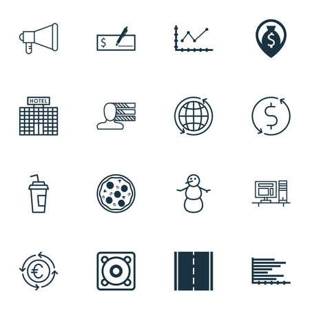 project charter: Set Of 16 Universal Editable Icons. Can Be Used For Web, Mobile And App Design. Includes Icons Such As Hotel Construction, Pizza Meal, Money Navigation And More.