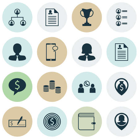 topics: Set Of Management Icons On Bank Payment, Job Applicants And Messaging Topics. Editable Vector Illustration. Includes Call, Conference, Purse And More Vector Icons.