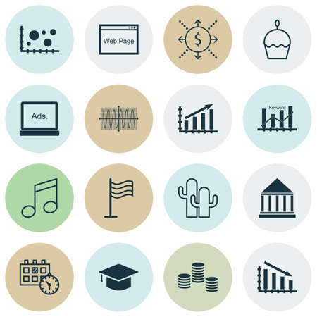 crotchets: Set Of 16 Universal Editable Icons. Can Be Used For Web, Mobile And App Design. Includes Icons Such As Education Center, Birthday Cake, Crotchets And More.