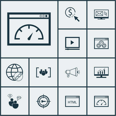 keyword: Set Of Advertising Icons On SEO Brainstorm, Keyword Marketing And PPC Topics. Editable Vector Illustration. Includes Consulting, Per, Keyword And More Vector Icons.
