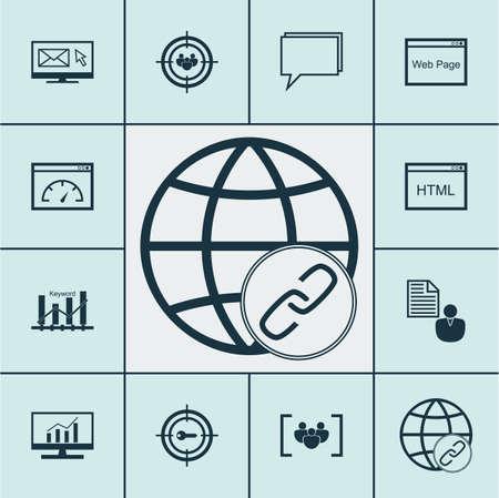 Set Of SEO icônes sur les mots-clés marketing, questionnaire et des sujets du groupe de discussion. Editable Vector Illustration. Comprend en ligne, le client, le classement et Plus icônes vectorielles.