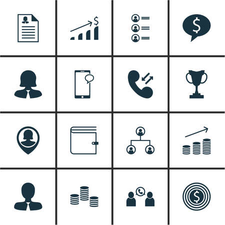 telephone icon: Set Of Human Resources Icons On Cellular Data, Coins Growth And Tournament Topics. Editable Vector Illustration. Includes Tree, Female, Wallet And More Vector Icons.