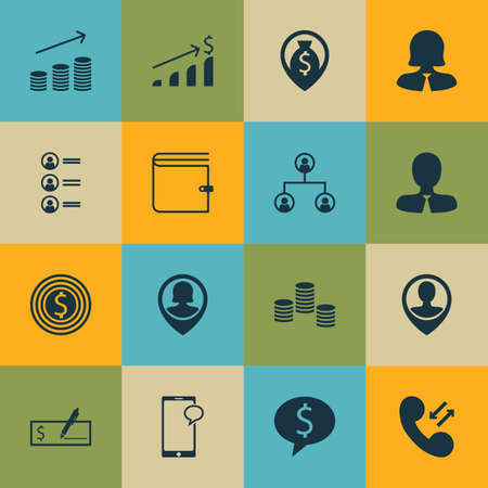 applicant: Set Of Management Icons On Employee Location, Money And Cellular Data Topics. Editable Vector Illustration. Includes Purse, User, Profile And More Vector Icons.