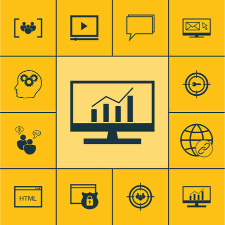 web conference: Set Of SEO Icons On Newsletter, Focus Group And Questionnaire Topics. Editable Vector Illustration. Includes Protected, Web, Conference And More Vector Icons.