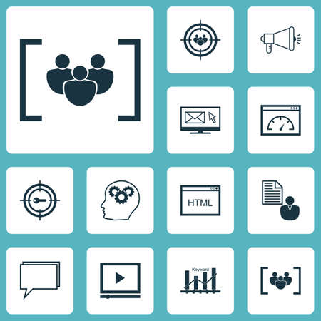 reporting: Set Of Marketing Icons On Keyword Optimisation, Questionnaire And Brain Process Topics. Editable Vector Illustration. Includes Community, Performance, Focus And More Vector Icons.