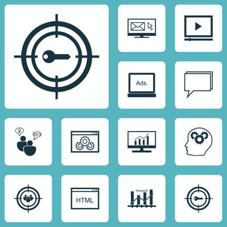 reporting: Set Of SEO Icons On Keyword Marketing, Market Research And Digital Media Topics. Editable Vector Illustration. Includes Consulting, Video, Website And More Vector Icons.