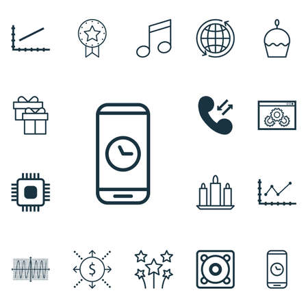 world receiver: Set Of 16 Universal Editable Icons. Can Be Used For Web, Mobile And App Design. Includes Icons Such As Line Graph, Call Duration, Present And More.