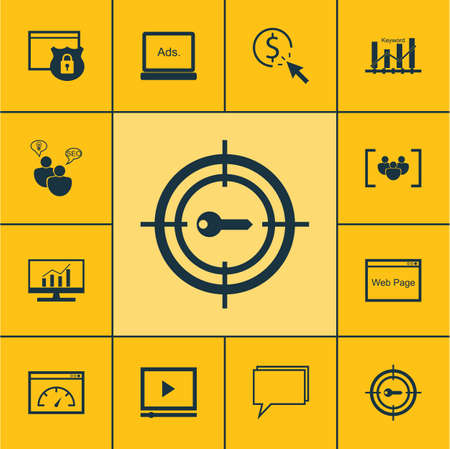 reporting: Set Of Marketing Icons On Keyword Marketing, Website And Conference Topics. Editable Vector Illustration. Includes Dynamics, Marketing, Speed And More Vector Icons.