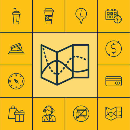 Set Of Transportation Icons On Locate, Plastic Card And Shopping Topics. Editable Vector Illustration. Includes Road, Mobile, Center And More Vector Icons.