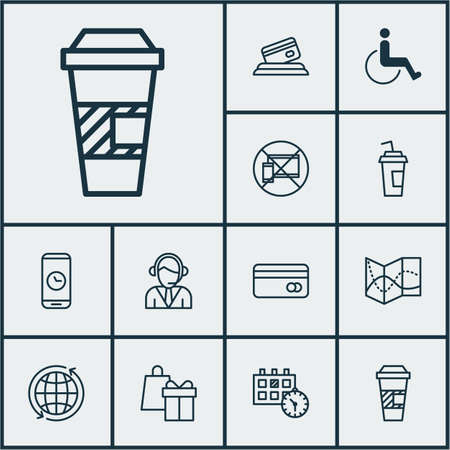 accessibility: Set Of Travel Icons On Plastic Card, World And Call Duration Topics. Editable Vector Illustration. Includes Accessibility, World, Travel And More Vector Icons.
