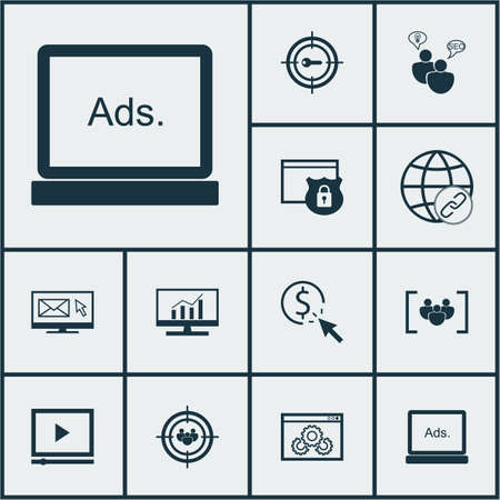 ppc: Set Of Marketing Icons On Video Player, PPC And Questionnaire Topics. Editable Vector Illustration. Includes Advertising, Matching, Target And More Vector Icons. Illustration