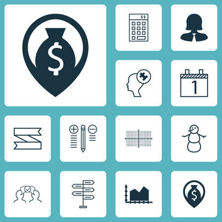 Set Of 12 Universal Editable Icons. Can Be Used For Web, Mobile And App Design. Includes Icons Such As Business Woman, Human Mind, Blank Ribbon And More.
