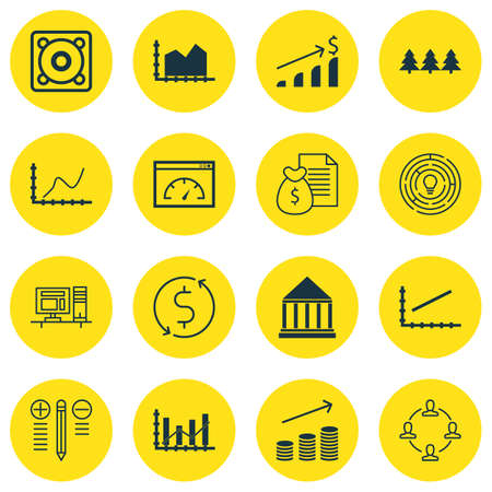 christmas debt: Set Of 16 Universal Editable Icons. Can Be Used For Web, Mobile And App Design. Includes Icons Such As Coins Growth, Music, Line Graph And More. Illustration