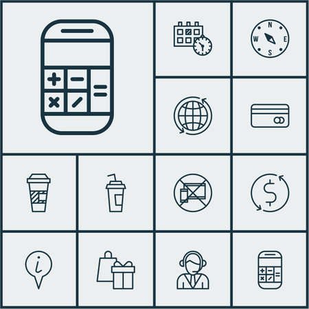 shop assistant: Set Of Airport Icons On Takeaway Coffee, Shopping And Appointment Topics. Editable Vector Illustration. Includes Credit, Coffee, Exchange And More Vector Icons. Illustration