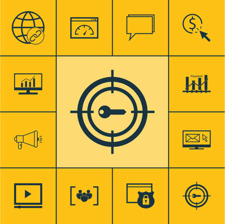 briefing: Set Of SEO Icons On Questionnaire, Keyword Optimisation And Newsletter Topics. Editable Vector Illustration. Includes Ranking, Target, Comprehensive And More Vector Icons.