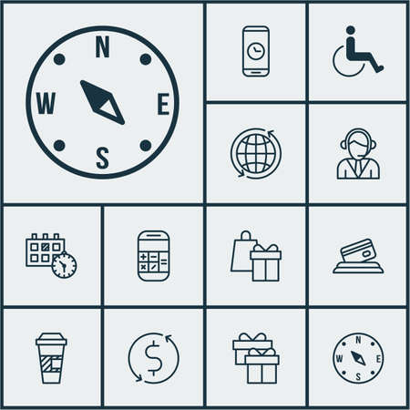 accessibility: Set Of Traveling Icons On Operator, Call Duration And Credit Card Topics. Editable Vector Illustration. Includes Card, Accessibility, Calculation And More Vector Icons. Illustration
