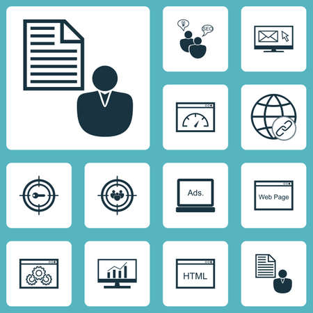 Ensemble d'icônes marketing sur les performances du site Web, marketing par mots clés et sujets relatifs à la vitesse de chargement. Illustration vectorielle modifiable Comprend site Web, navigateur, recherche et plusieurs icônes vectorielles.