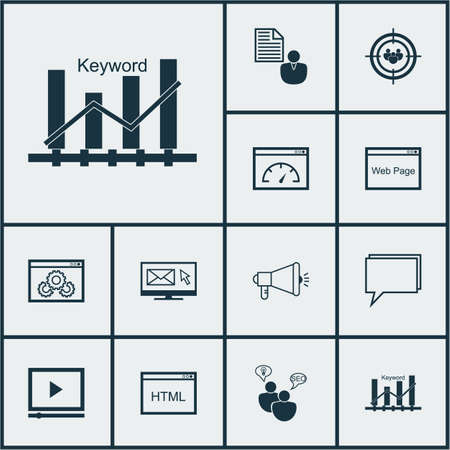briefing: Set Of SEO Icons On Keyword Optimisation, Media Campaign And Newsletter Topics. Editable Vector Illustration. Includes Brief, Speed, Video And More Vector Icons.