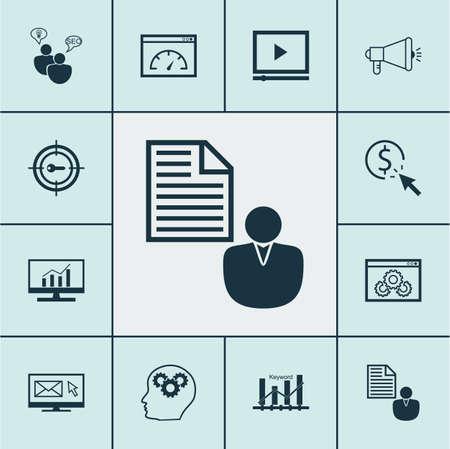 Set Of Marketing Icons On Website Performance, Newsletter And Keyword Optimisation Topics. Editable Vector Illustration. Includes Viral, Website, Target And More Vector Icons. Illustration