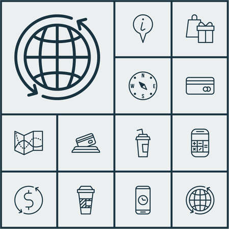 Set Of Traveling Icons On Call Duration, World And Info Pointer Topics. Editable Vector Illustration. Includes Time, Exchange, Dollar And More Vector Icons.