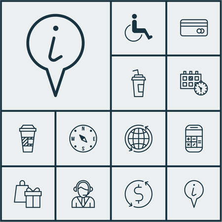 accessibility: Set Of Airport Icons On Drink Cup, Accessibility And Shopping Topics. Editable Vector Illustration. Includes Center, Debit, Dollar And More Vector Icons.
