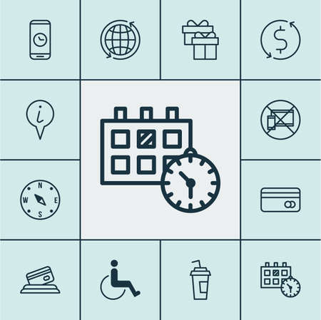 accessibility: Set Of Traveling Icons On Drink Cup, Credit Card And Locate Topics. Editable Vector Illustration. Includes Accessibility, Date, Present And More Vector Icons. Illustration