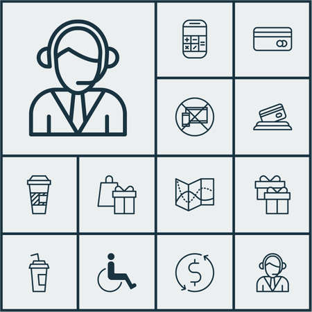 tour operator: Set Of Traveling Icons On Operator, Takeaway Coffee And Present Topics. Editable Vector Illustration. Includes Device, Present, Travel And More Vector Icons.