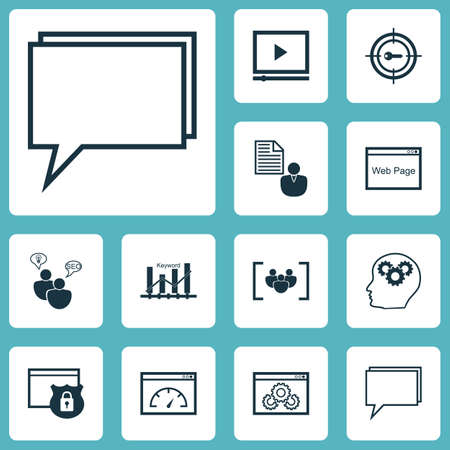 briefing: Set Of Advertising Icons On Keyword Optimisation, Conference And Video Player Topics. Editable Vector Illustration. Includes Browser, Conference, Client And More Vector Icons.