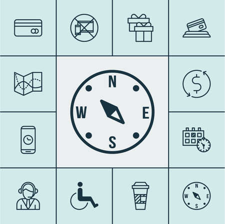 locate: Set Of Transportation Icons On Plastic Card, Operator And Locate Topics. Editable Vector Illustration. Includes Call, Accessibility, Time And More Vector Icons.