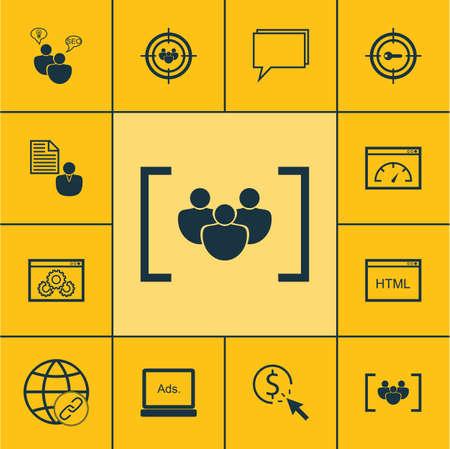 Ensemble d'icônes de marketing sur le marketing par mot clé, PPC et sujets de conférence. Illustration vectorielle modifiable Comprend Homme d'affaires, Per, Click et plusieurs icônes vectorielles.