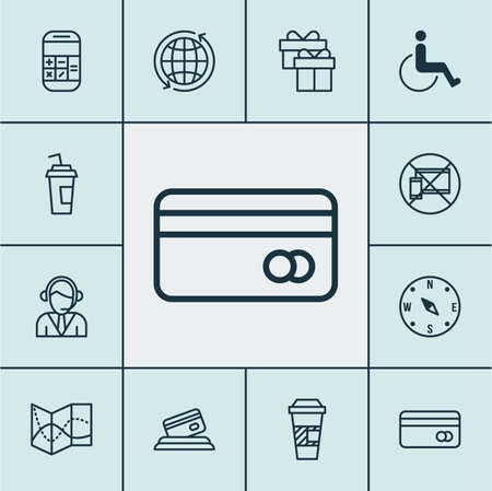 locate: Set Of Travel Icons On Locate, Accessibility And Present Topics. Editable Vector Illustration. Includes Credit, Accessibility, Mobile And More Vector Icons. Illustration