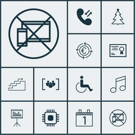 crotchets: Set Of 12 Universal Editable Icons. Can Be Used For Web, Mobile And App Design. Includes Icons Such As Decorated Tree, Agenda, Crotchets And More. Illustration