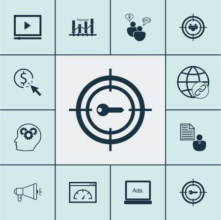 consumer society: Set Of SEO Icons On Focus Group, Digital Media And SEO Brainstorm Topics. Editable Vector Illustration. Includes Optimization, Performance, Marketing And More Vector Icons.