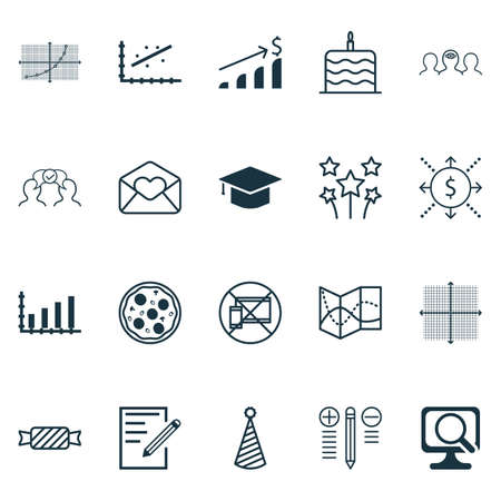 collaborative: Set Of 20 Universal Editable Icons. Can Be Used For Web, Mobile And App Design. Includes Icons Such As Analytics, Pizza Meal, Graduation And More.