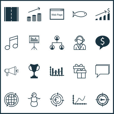crotchets: Set Of 20 Universal Editable Icons. Can Be Used For Web, Mobile And App Design. Includes Icons Such As Media Campaign, Fishing, Achievement Graph And More. Illustration