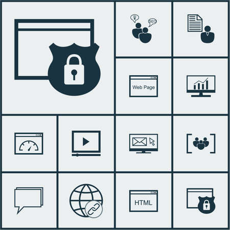 Set Of SEO Icons Sur la vitesse de chargement, Codage Et Sujets Video Player. Editable Vector Illustration. Comprend affaires, Consulting, Client et Plus icônes vectorielles.