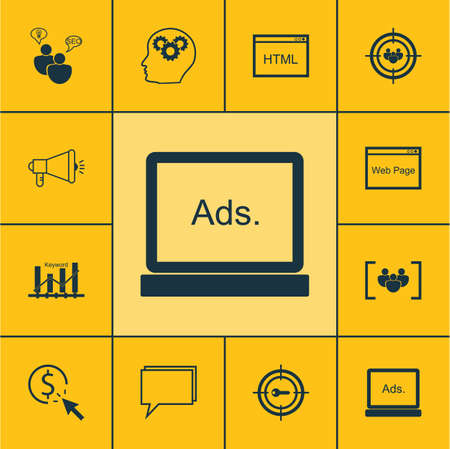 consumer society: Set Of Advertising Icons On Media Campaign, Keyword Marketing And Keyword Optimisation Topics. Editable Vector Illustration. Includes Optimization, Creativity, SEO And More Vector Icons.