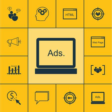 keyword: Set Of Advertising Icons On Media Campaign, Keyword Marketing And Keyword Optimisation Topics. Editable Vector Illustration. Includes Optimization, Creativity, SEO And More Vector Icons.